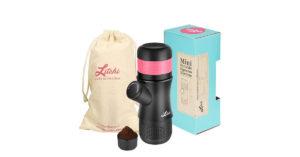 Macchina Caffè Espresso Portatile, Caffettiera Mini, Nessuna Batteria Necessaria,Nessuna Energia Elettrica per Esterno, Casa, Ufficio di Litchi